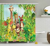 Cartoon Decor Shower Curtain by Ambesonne, Cute Animals Giraffe Tiger Snake Dinosaur Hippo Monkey in Jungle Kids Baby Theme, Fabric Bathroom Decor Set with Hooks, 70 Inches, Green