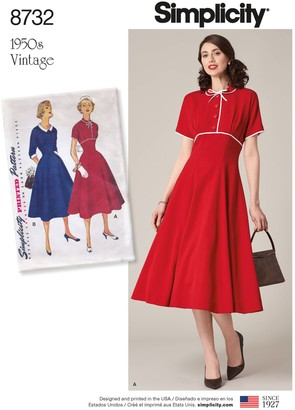 Simplicity Misses' Vintage 1950's Dress Pattern, 8732