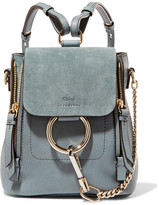 Chloé Faye Mini Leather And Suede Backpack - Blue