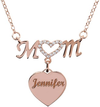 Italian Silver Personalized Crystal Heart Mom Necklace