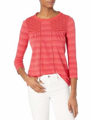 Lucky Brand Women's Plus-Size Shadow Stripe Mix Top