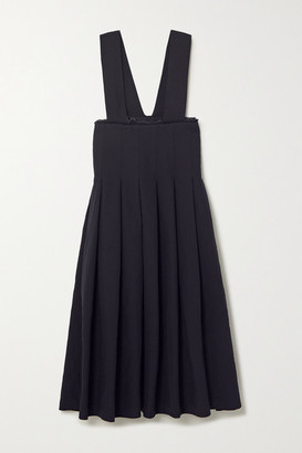 Comme des Garcons Pleated Frayed Twill Midi Dress - Navy