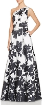 Carmen Marc Valvo One-Shoulder Floral Print Gown