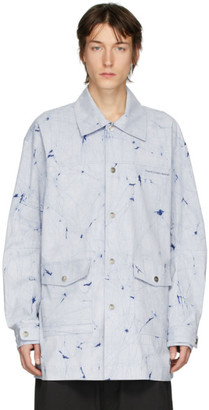 Feng Chen Wang Blue Stripe Resist-Dyed Shirt