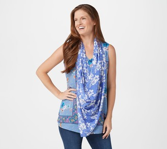 Tolani Collection Printed Tank Top with Built-In Scarf