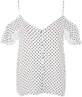 Topshop TALL Button Detail Cold Shoulder Top