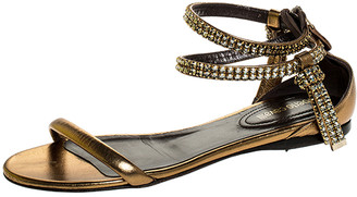 Roberto Cavalli Bronze Leather Crystal Embellished Ankle Strap Flat Sandals Size 38