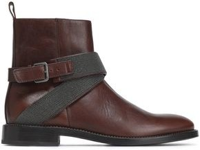 Brunello Cucinelli Buckle-detailed Bead-embellished Leather Ankle Boots