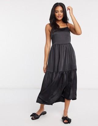 Vila satin midi dress with cami straps in black