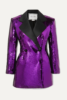 Redemption Double-breasted Satin-trimmed Sequined Crepe Mini Dress - Purple