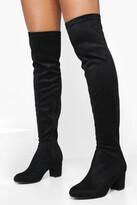 boohoo Lena Block Heel Stretch Knee High Boots