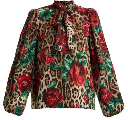 Dolce & Gabbana Leopard And Rose Print Pussy Bow Silk Blend Blouse - Womens - Beige Multi