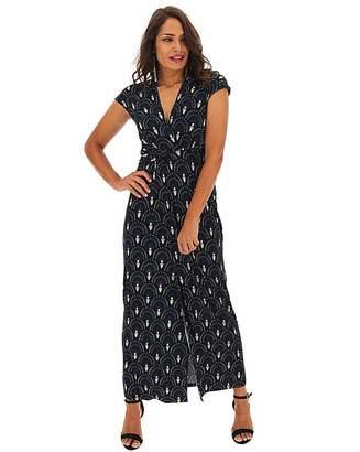 Jd Williams Art Deco Print Twist Knot Maxi Dress