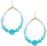 Lydell NYC Golden Beaded Ombre Hoop-Drop Earrings, Blue