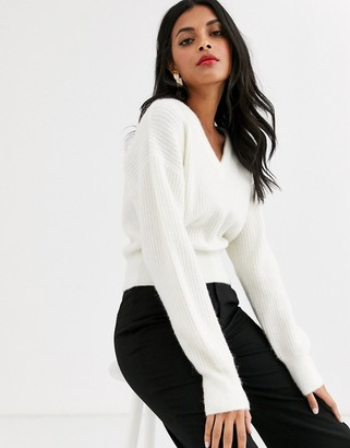 And other stories & v neck crop sweater in cream