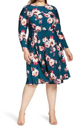 Eliza J Floral Long Sleeve Midi Dress