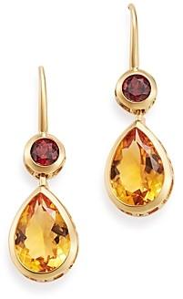 Bloomingdale's Citrine & Garnet Drop Earrings in 14K Yellow Gold - 100% Exclusive