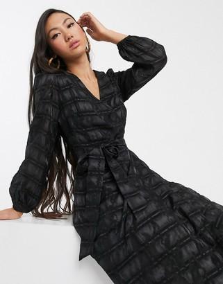 Glamorous midi wrap dress with volume sleeves in organza check-Black