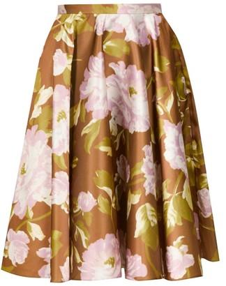 Rochas Floral-print Satin Skirt - Womens - Green Multi