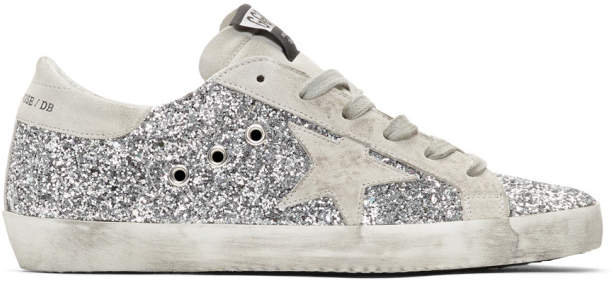 Golden Goose SSENSE Exclusive Silver All-Over Glitter Superstar Sneakers