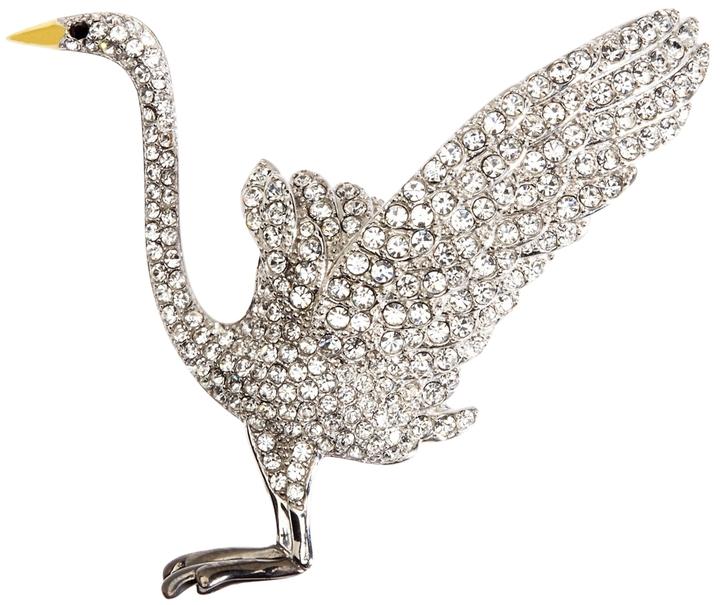 Brooks Brothers Audubon Crane Crystal Brooch