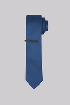 Moss Bros Teal Skinny Tie With Tie Clip