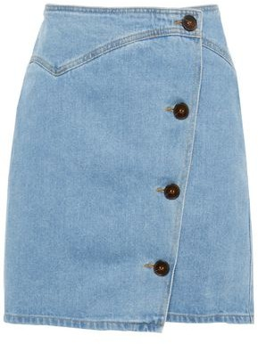 Nanushka Amita Denim Mini Wrap Skirt
