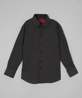 Elie Balleh Boys' Button Down Shirts Black - Black Polka Dot Button-Up - Toddler & Boys