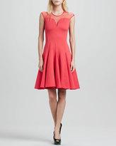 Halston Cap-Sleeve Ponte Illusion Godet Dress