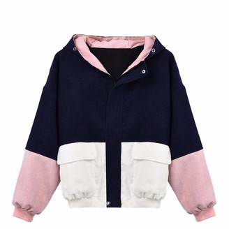 Younthone Coats and Jackets for Women Long Sleeve Corduroy Patchwork Oversize Jacket Windbreaker Coat Overcoat Windproof Warm Casual Jacket Fashion Hooded Jacket with Pocket Party Daily(Navy XXXL)
