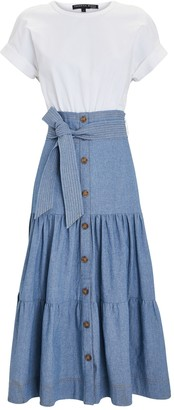 Veronica Beard Emmitt Tie-Waist Midi Dress