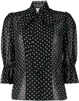 Alexis short puffed sleeve polka dot blouse