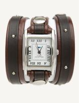 La Mer Brown-silver Stud Wrap Watch.