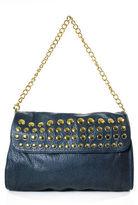 Deux Lux Navy Blue Pebbled Leather Gold Tone Studded Flap Shoulder Handbag RHB18