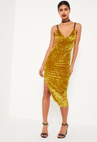 Missguided Chartreuse Green Strappy Crushed Velvet Bodycon Midi Dress