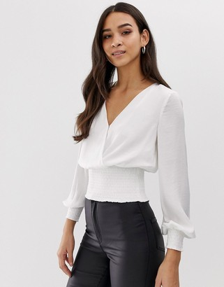 Morgan wrap front elasticated top in white