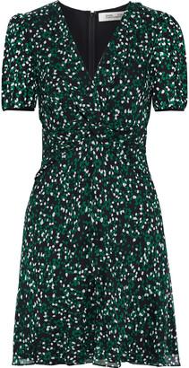 Diane von Furstenberg Jillian Twist-front Printed Chiffon-paneled Silk-georgette Mini Dress