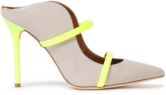 Malone Souliers Maureen 100 Neon-trimmed Leather Mules