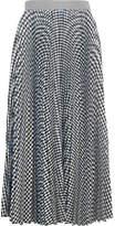 MSGM Checked Pleated Crepe Midi Skirt - Black