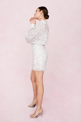 Nasty Gal Womens Bridal Balloon Sleeve Embellished Mini Dress - White - 4