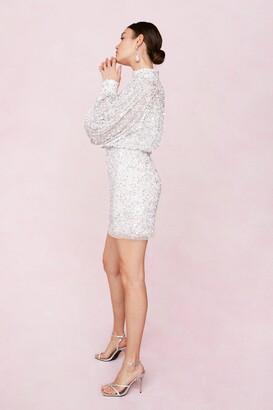 Nasty Gal Womens Bridal Balloon Sleeve Embellished Mini Dress - White - 6