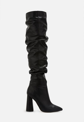 Missguided Faux Leather Block Heel Over Knee Boots
