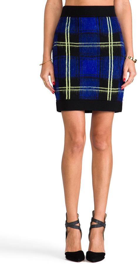 Milly RUNWAY Knit Washed Plaid Jacquard Mini Skirt