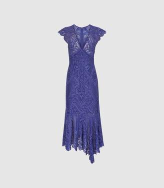 Reiss Anastasia - Lace Overlay Flute Hem Midi Dress in Cobalt