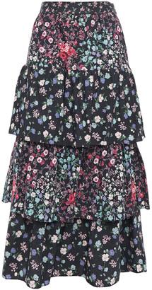 LoveShackFancy Tiered Floral-print Cotton-poplin Midi Skirt