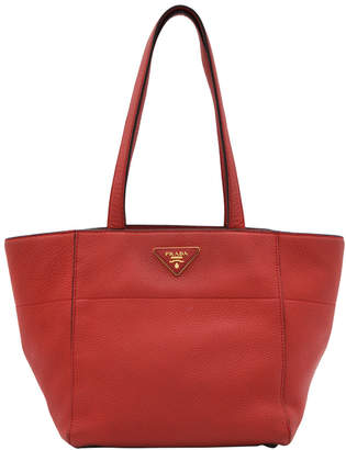 Prada Red Vitello Daino Leather Tote