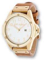 Steve Madden Round Dial Goldtone Tan Leather Strap Watch
