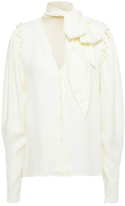 Mother of Pearl Clara Pussy-bow Ruffle-trimmed Crepe Blouse