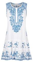 Juliet Dunn Embroidered Sleeveless Drop Waist Dress