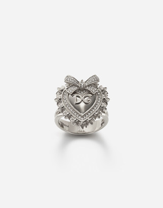 Dolce & Gabbana Devotion Ring In White Gold With Diamonds